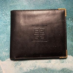 Vintage Givenchy ID Bidold Wallet Black Leather with gold corners